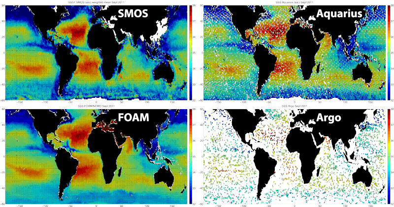 monthly-averaged sea surface salinity on a 1º grid between [-60ºS, 60ºN] generated at NOC for SMOS (top left), Aquarius (top right), the UK Met Office operational FOAM model (bottom left) and from near-surface salinity from Argo (bottom right)